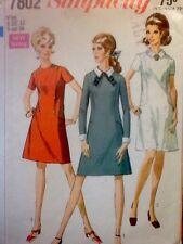 Vintage Simplicity Dress w/Belt & Detachable Cuffs & Collar Pattern Bust 34 7802