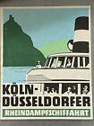 Koln-Dusseldorfer Vintage Ferry Boat Travel Label -Mint original Rarity!  1940s