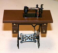 Dollhouse Miniatures, Sewing Machine on Walnut Stand, Resin & Metal