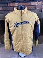 Vintage Milwaukee Brewers MLB Baseball Light Winter Puffer Jacket Mens Medium
