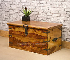 Solid Jali Sheesham Wood New Strap Chest Storage Lockable Trunk Box (Size 4) lrg