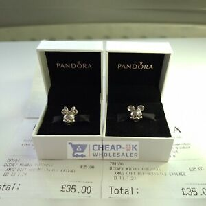 100% REAL DISNEY PANDORA CLASSIC Mickey & Minnie Mouse Pair S925 ALE Gift Charm
