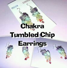 NATURAL CRYSTAL CHAKRA TUMBLED CHIP DROP EAR RINGS