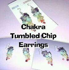 NATURAL CRYSTAL CHAKRA TUMBLED CHIP DROP EAR RINGS
