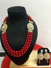 Indian Ethnic Bollywood Wedding Bridal Pearl Jewelry Necklace Earrings Set