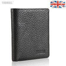 Genuine Mens Leather Bifold Wallet Purse Business Credit Card Holder Black  UK
