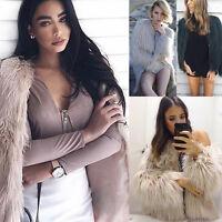 Women Winter Warm Faux Fur Fox Coat Ladies Jacket Thick Parka Outwear Overcoat