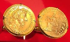 Ancient Roman Marcus Aurelius Aureus 168 AD Rome Gold Plated Coin Cufflinks +Box