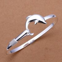 Silver Plated Dolphin Wristband Solid Women Gifts Bracelet Bangle Jewelry