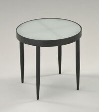 Kings Brand Black Metal & Frosted Tempered Glass Round Modern Side End Table