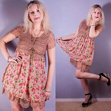 Vtg 70s STRAWBERRY Sheer LACE Crochet Scallop Grunge Boho Empire Mini Dress