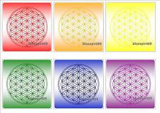 Set Blume des Lebens Pad 6 Untersetzer Chakra rot.orange.gelb.grün.blau.violett