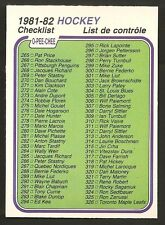 ~ 1981-82 O-Pee-Chee Hockey Check List ~ Card No. 381 ~ #265-396 ~ OPC ~