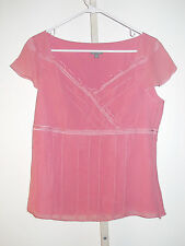 Ann Taylor Empire Cap Sleeve Crossover V neck Ruffle Silk Blouse Lined Preowned