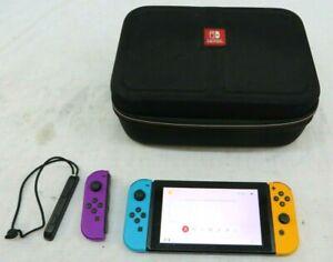 Nintendo Switch Handheld Gaming Console W/Neon Orange & Blue Joy-Cons