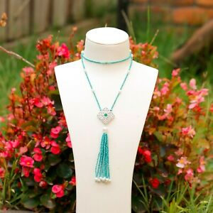 Natural Turquoise beads w/freshwater pearl luxury 65cm necklace w/tassel #204