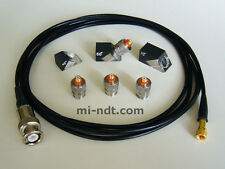 """4x Quick Change Ultrasonic Transducers with cable + 3x Wedge 6mm 0.25"""""""
