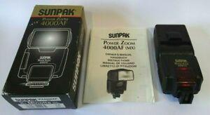 Sunpak Auto 4000AF Hot Shoe Mount Flash for Minolta Sony MX + Box & Instructions