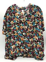 Sag Harbor Womens Button Down Floral Blouse With Front Pocket Size 2 X