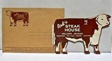 old Williams Arizona Az Grand Canyon Rods Steak House Route 66 Cow Postcard Menu