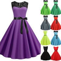 Vintage Women 50s Hepburn Rockabilly Sleeveless Evening Solid Swing Skater Dress