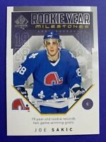 2018-19 Upper Deck SP Authentic Rookie Year Milestones #RYM-JS Joe Sakic Quebec