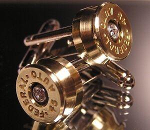 NEW .45 Auto Bullet Casing Cufflinks w/ Crystal Gem Birthday Gift Wedding Dad