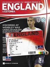Football Programme plus Ticket>ENGLAND v ESTONIA Oct 2007 ECQR
