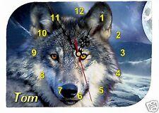 horloge pendule murale loup personnalisable prénom au choix réf F36