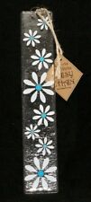 Designer Fused Glass Wall Hanging Daisy White and Blue 25cm