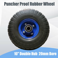"""10"""" Double Hub Puncher Proof Rubber Wheel 20mm Bore 4.10 / 3.50 - 4"""