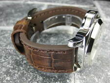 New BIG CROCO 24mm PANERAI Antique Brown LEATHER STRAP Gold watch Band 24
