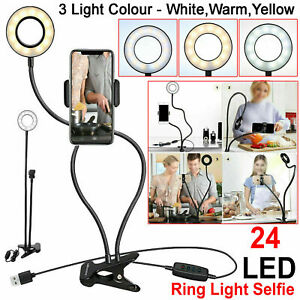 Long Arm 24 LED Ring Light Selfie Phone Holder For Camera Flash Clip Fill Stand