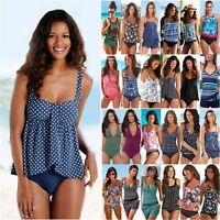 Women Blouson Tank Top Bikini Set Two Piece Tankini Swimwear Boy Shorts Swimsuit