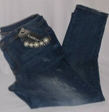 BEBE INDIGO LUXE BLUE JEAN JEANS JEWELRY BEADS SKINNY PANTS SIZE 32 VALUE @ $118
