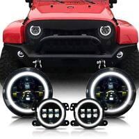 For Jeep Wrangler JK Halo LED Headlight + Halo LED DRL Fog Light Combo Kit