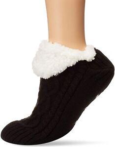 HUE 241730 Womens Fluffy Slipper Shue Sock with Grippers Black Size Medium