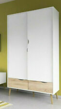 Oslo Retro Scandinavian Spindle Style Wardrobe 2 Doors 2 Drawers White & Oak (b)
