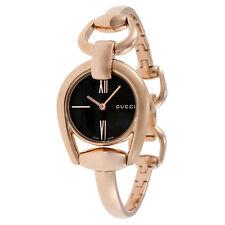 Gucci Horsebit Black Dial Rose Gold PVD Ladies Watch YA139507