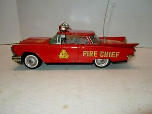 Vintage 1959 Japan Ichiko Tin Friction Buick 2Dr Fire Chief Car. A+.WORKS.NRES