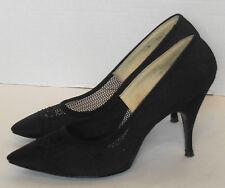 Vintage Black Fabric Pointy Toe Shoes Stiletto Heels Stiffened Net 7 Dream Step
