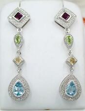 Sterling Silver Blue Topaz Citrine Peridot Garnet Gemstone Dangle Earrings JTV