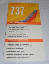 Southwest Airlines Boeing 737 Safety Information Card Revised 08/09