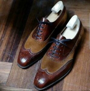 Men's Handmade Brown Suede Brogue Lace Up Formal Dress Wingtip Leather Shoes