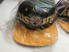 Vtg Pittsburg Steelers Big Logo 7 Snapback Flat Bill Ball Cap Hat NFL Football