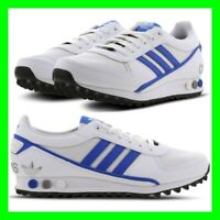 Mens White/Blue Trainers Adidas LA Trainer Size 7-11 UK Sneakers Shoes Leather