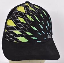 Black  Quicksilver Diamond Plaid Design Boys Embroidered baseball hat cap fitted