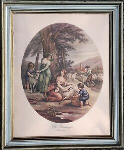 THE SPRING - Picture in a golden frame printed on copper (according to Hamilton)