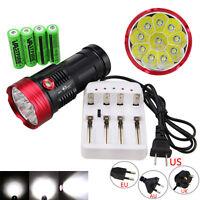 35000LM Vastfire 10 x XM-L T6 LED Flashlight 4 x 18650 Hunting Torch Clamp Lamp