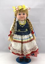 "Bisque Porcelain Doll Marian Yu Designs (Myd) ""German Girl"" 15 1/2"" Tall Stand"